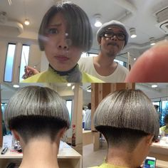 Shaved Nape, Shaved Sides, Short Hair Cuts, Short Hair Styles, Short Stacked Bobs, Thick Bangs, Bowl Haircuts, Clipper Cut, Bob Hairstyles For Thick
