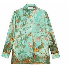 Gucci Silk Button Down Shirt ($1,700) ❤ liked on Polyvore featuring tops, bird shirt, green top, gucci, shirts & tops and flower button down shirt