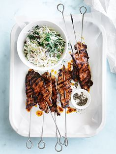 harissa beef skewers with tahini slaw