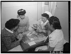 Bridge game, Nurse Aiko Hamaguchi, Nurse Chiye Yamanaki, Miss Catherine Yamaguchi, Miss Kazoko Nagahama, Manzanar Relocation Center, Califor...