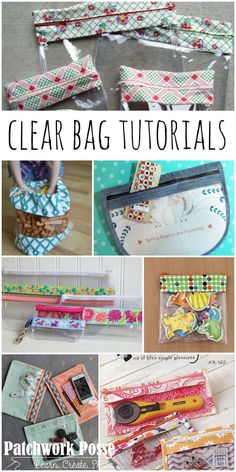 20 + Clear Bag Tutorials - Patchwork Posse Source by Easy Sewing Projects, Sewing Projects For Beginners, Sewing Hacks, Sewing Tutorials, Sewing Crafts, Sewing Tips, Bag Tutorials, Bags Sewing, Tutorial Sewing