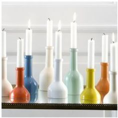 upcycled wine bottle candlesticks