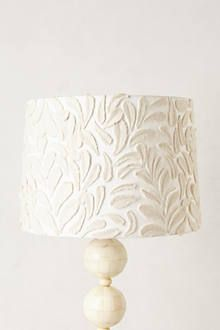 Fallen Fronds Lampshade - I think I'll DIY this with felt unto my current boring plain white shades Unique Lighting, Home Lighting, Lighting Ideas, Outdoor Lighting, Home Accessories, Decorative Accessories, Decorative Lighting, Do It Yourself Decoration, I Love Lamp