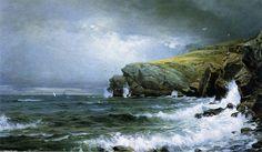 """William Trost Richards (1833-1905, United States) ~ """"Paysage Marin - Côte du Maine"""" ~ Huile sur Toile 1887"""