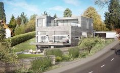 Exterior visual of a multi-family house in Herrliberg (CH) by René Schmid Architects Exterior, Mansions, House Styles, Home Decor, Real Estates, Product Design, Architecture, Decoration Home, Room Decor