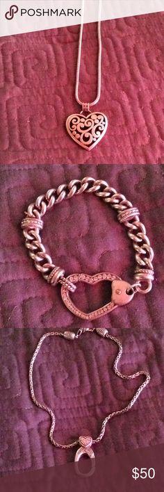 Brighton Jewelry Brighton Contempo Heart Necklaces Silver and a heart bracelet Brighton Jewelry Necklaces