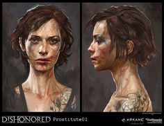 Dishonored Concept Art // Prostitute by Cedric Peyravernay Female Character Design, Character Concept, Character Art, Character Personality, Dishonored Tattoo, Dark Fantasy, Fantasy Art, Cyberpunk, World Of Darkness