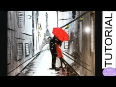 How to paint COUPLE RED UMBRELLA in PARIS. Lovers EIFFEL Tower Painting Tutorial Step by Step - YouTube