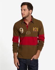 EASTBROOK Mens Vintage Look Embroidered Rugby Shirt