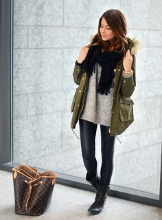 olive green parka, faux leather leggins, slouchy grey sweater and a scarf