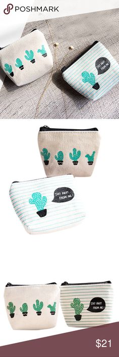 "Adorable Coin Purse Set satin lining, adorably vibrant cactus, zipper closure, soft canvas (🐶🐵 vegan friendly), several pockets on the inside perfect for coins or be creative and keep your fav makeup products or feminine products, set includes two coin purses, 1 in each design  ▫️RESERVE out of stock sizes by purchasing ""🔜"" options & it will ship automatically when it's restocked. Bags"