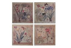 A charming flower, butterfly and postage motif wall art...