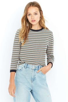 Urban Outfitters Jarrett Striped Ringer Long Sleeve Top