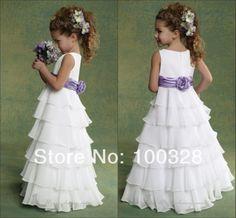 2014 new lovely Custom made a line scoop floor length tank with flower sleeveless chiffon flower girl dresses