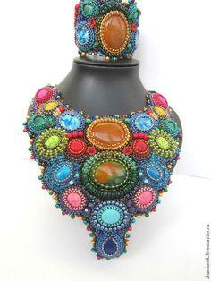 """Комплект """"Дивный сад""""из бисера и камней. Handmade."""