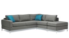 Made in CanadaShown and Priced in Tony Charcoal grade 10 fabric with Element Deepsea toss cushions and Chrome metal legs.One Arm Apartment Sofa, Chaise Return and Ottoman Grey Sectional, Fabric Sectional, 3 Piece Sectional, Home Decor Furniture, Custom Furniture, Contemporary Furniture Stores, Best Leather Sofa, Apartment Sofa, Apartment Therapy
