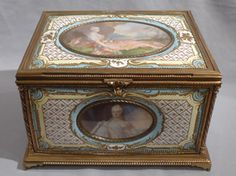 stock number 4800 Antique French enamel & ormolu casket with five signed watercolour on ivory of French Royal Family