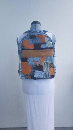 8f579730367f Denim, faux seude & corduroy backpack leopard denim tie dye seude patch one  of a kind bag