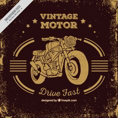Vintage motorcycle background in sepia Free Vector