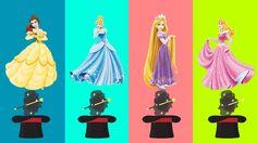 Aprendendo Cores com VESTIDOS Princesa Anna, Princesa Elsa, Branca de Ne...