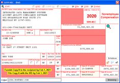 Nonemployee Compensation - Data is entered onto windows that resemble the actual forms. Imports recipient information from spreadsheets or delimited text files. Files Copy A electronically via IRS FIRE or on preprinted laser forms. Prepares recipient and payer copies on ordinary copy paper or PDF for eDelivery. Irs Forms, Copy Paper, Accounting, Software, Pdf, Fire, Windows, Business Accounting, Ramen