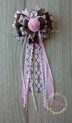 Moño grande de muchas capas con botón de rosa ❤ by:mimo's Cuties Boutique