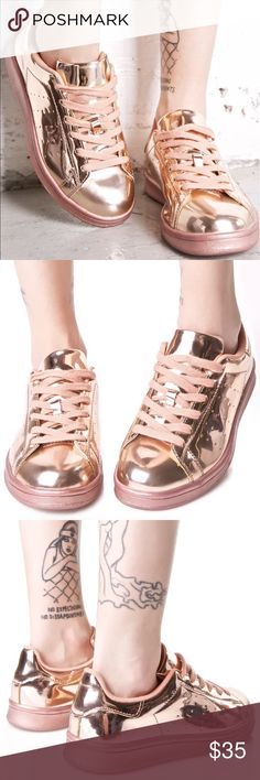 Melted Rose Metallic Sneakers New/never worn. Super comfy cushiony interior with minimal perforations on the side. Size 7.5! True to size. Dollskill Shoes Sneakers