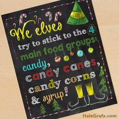 FREE Printable Christmas Elf Movie Quote Chalkboard Art