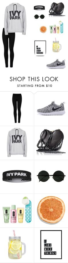 """Ivy Park 02"" by thaturbanstylista ❤ liked on Polyvore featuring Wolford, Topshop, Rebecca Minkoff and Clinique"