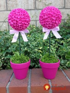 Items similar to Topiary Centerpieces, Topiary Party Centerpieces tall. Flower Ball, Flower Pots, Topiary Centerpieces, Ikebana, Candy Trees, Troll Party, Dollar Tree Decor, Topiary Trees, Crochet Flower Patterns