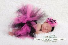 Pink and black tutu and bow