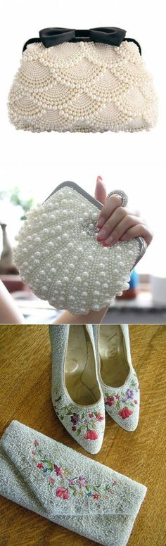 Embroidery bag diy purses 44 ideas for 2019 Crochet Clutch, Crochet Handbags, Crochet Purses, Bead Crochet, Beaded Purses, Beaded Bags, Beaded Jewelry, Pearl Embroidery, Embroidery Bags