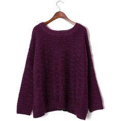 Texture Asymmetric Hem Sweater in Violet ($57) ❤ liked on Polyvore