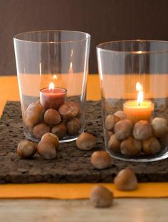 Gather acorns and layer in a cup around a small candle for a pretty Thanksgiving votive. More Thanksgiving decorating: http://www.midwestliving.com/holidays/thanksgiving/easy-ideas-for-thanksgiving-decorating/page/11/0