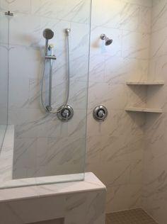 Florentine Carrara installed horizontal brick joint in garden shower Bathroom Wall, Modern Bathroom, Small Bathroom, Bathroom Ideas, Bathroom Layout, Bath Ideas, Wall Tile, Bathroom Faucets, Classic Bathroom Furniture