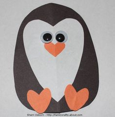 Adorable homemade penguin Valentine's card.  Perfect for 1st grade considering they are studying penguins.