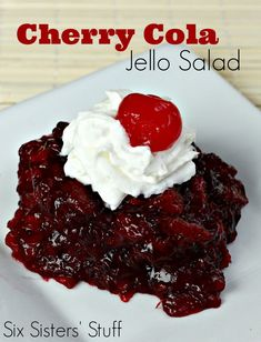 Cherry Cola Jello Salad from SixSistersStuff.com- a delicious and fun dish for summer!