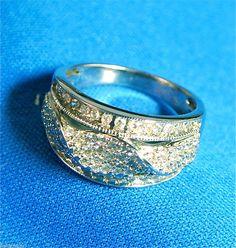 14k white gold diamond cluster ring wave  twist design band 1.00 carat + #Cluster