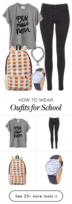"""""""Emoji casual unisex teen bag backpack outfit back to school"""" by info-klompa on Polyvore featuring Maison Scotch and Sincerely, Jules"""