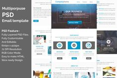 Multiporpuse PSD email template e5. by QuickArtisan on Creative Market