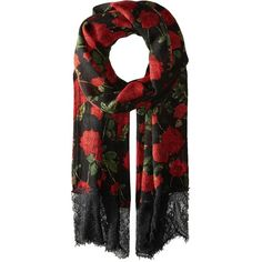Betsey Johnson Avantgard Rose Wrap (Black) ($33) ❤ liked on Polyvore featuring accessories, scarves, betsey johnson, wrap scarves, betsey johnson scarves and wrap shawl