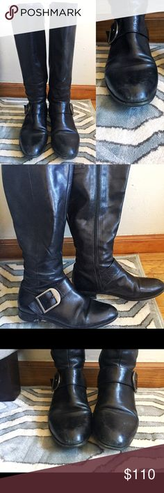 I bought new boots for a change of style! These are size 8.5 Via Spiga black boots in good condition. Bought in 2014 and used sparingly. Great quality, very comfortable and good especially for people with a slightly wider foot in the front. Almond-shaped toe, nice silver buckle detail. There are a few scuffs on the front of the boot, but this can easily be polished off by a shoe repair person to make them as good as new! Via Spiga Shoes Winter & Rain Boots