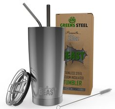 BEAST 20oz Stainless Steel Vacuum Insulated Tumbler Coffee Cup Flask + 2 Straws (Wide & Curved) + Straw Brush + Splash Proof Lid + Gift Box Premium Quality Bundle By Greens Steel: Amazon.co.uk: Kitchen & Home