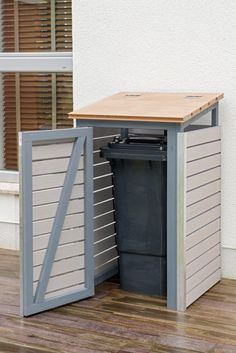 Build garbage bin yourself: final state with open door - Build garbage bin yourself: final state with open door - Garbage Can Shed, Garbage Can Storage, Storage Bins, Hide Trash Cans, Trash Bins, Bin Shed, Bin Store, Shed Homes, Tool Sheds