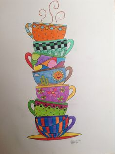 My colored pencil pic. Will frame and put in kitchen. Art Drawings For Kids, Easy Drawings, Art For Kids, Tea Cup Art, Coffee Cup Art, Easy Doodle Art, Tole Painting, Coffee Painting, Card Drawing