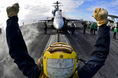 Spanning feet long — three times the length of a football field — Nimitz-class warships like the USS George H. Bush are the largest aircraft carriers. Military Girlfriend, Military Love, Military Jets, Military Aircraft, Military Spouse, Army Wives, Navy Aircraft, Military Pictures, Ronald Reagan