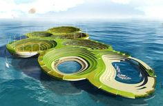 """""""...Ocean levels could rise by has much as 6.5 feet by 2100, threatening the way of life for millions of people who live in coastal cities across the world. Many architectural firms are already taking a proactive approach to this dilemma by rethinking the way we live with water and designing floating infrastructures."""" Powered by solar panels, wind turbines and underwater turbines, these floating arks could someday be our homes."""