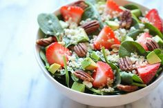 Strawberry Quinoa Salad with Balsamic Vinaigrette - baby spinach, pecans, avocado and crumbled feta