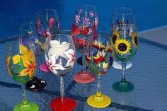 How To Paint Wine Glasses | Hand painted wine glasses by WINEGLASSESDECORATED on Etsy