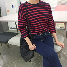 Chill out OOTD with Daily About Round Neck Striped Shirt Asian Street Style, Korean Street Fashion, Street Chic, Asian Fashion, Street Wear, Street Styles, Grunge Style, Soft Grunge, Daily Fashion